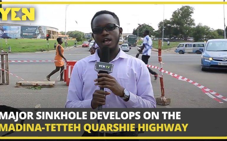 Ghana News Today: Major Sinkhole Develops on the Madina-Tetteh Quarshie Highway   #Yencomgh