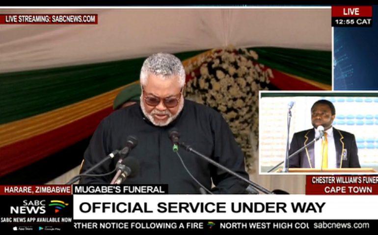Ghana's Jerry J Rawlings pays tribute to Mugabe