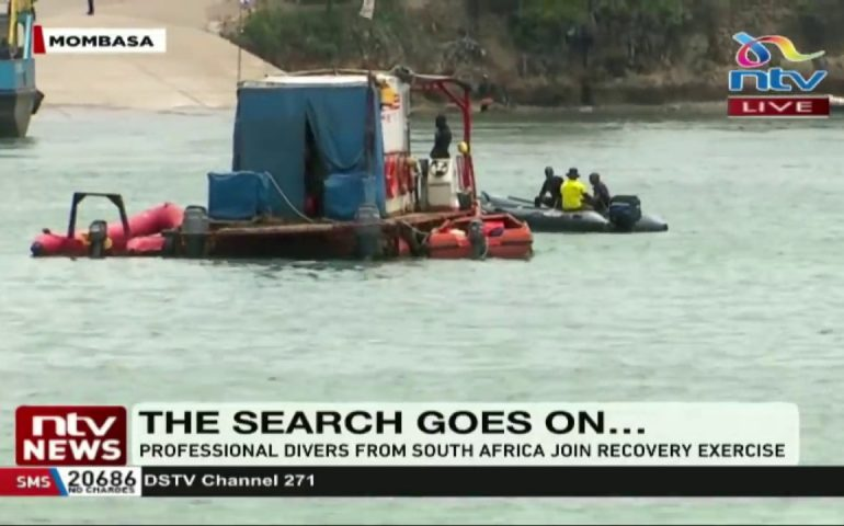 Professional divers from South Africa join operations at Likoni